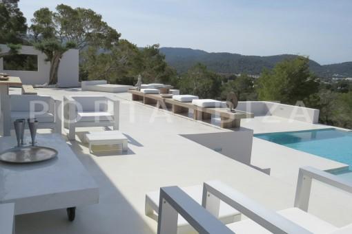 pool terrace-luxury property-fantastic sea views-sunset views-cala tarida