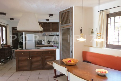 kitchen & dinner area-wonderful house at Can Germa-great sea view
